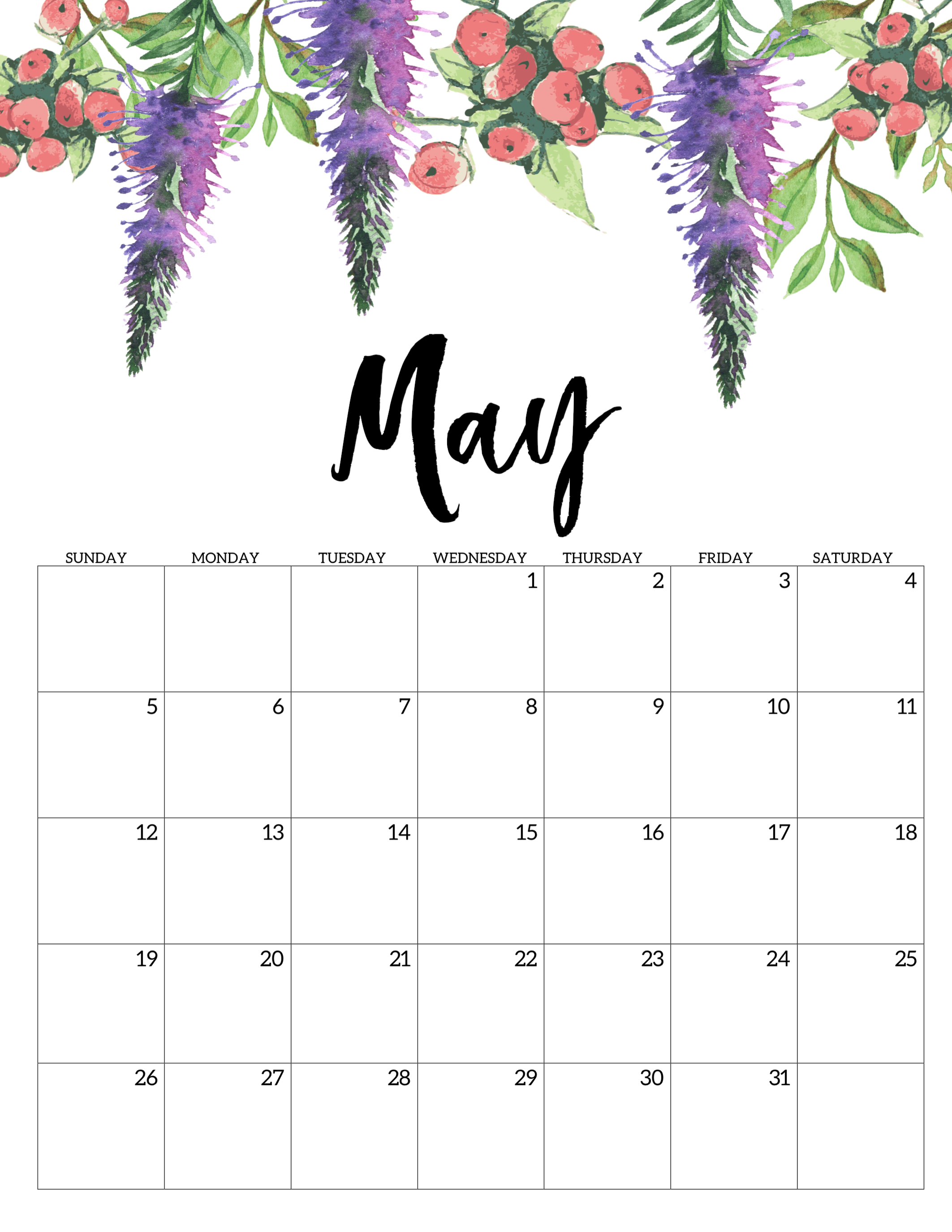 picture regarding Printable May Calendars identify No cost Printable Calendar 2019 - Floral - Paper Path Layout