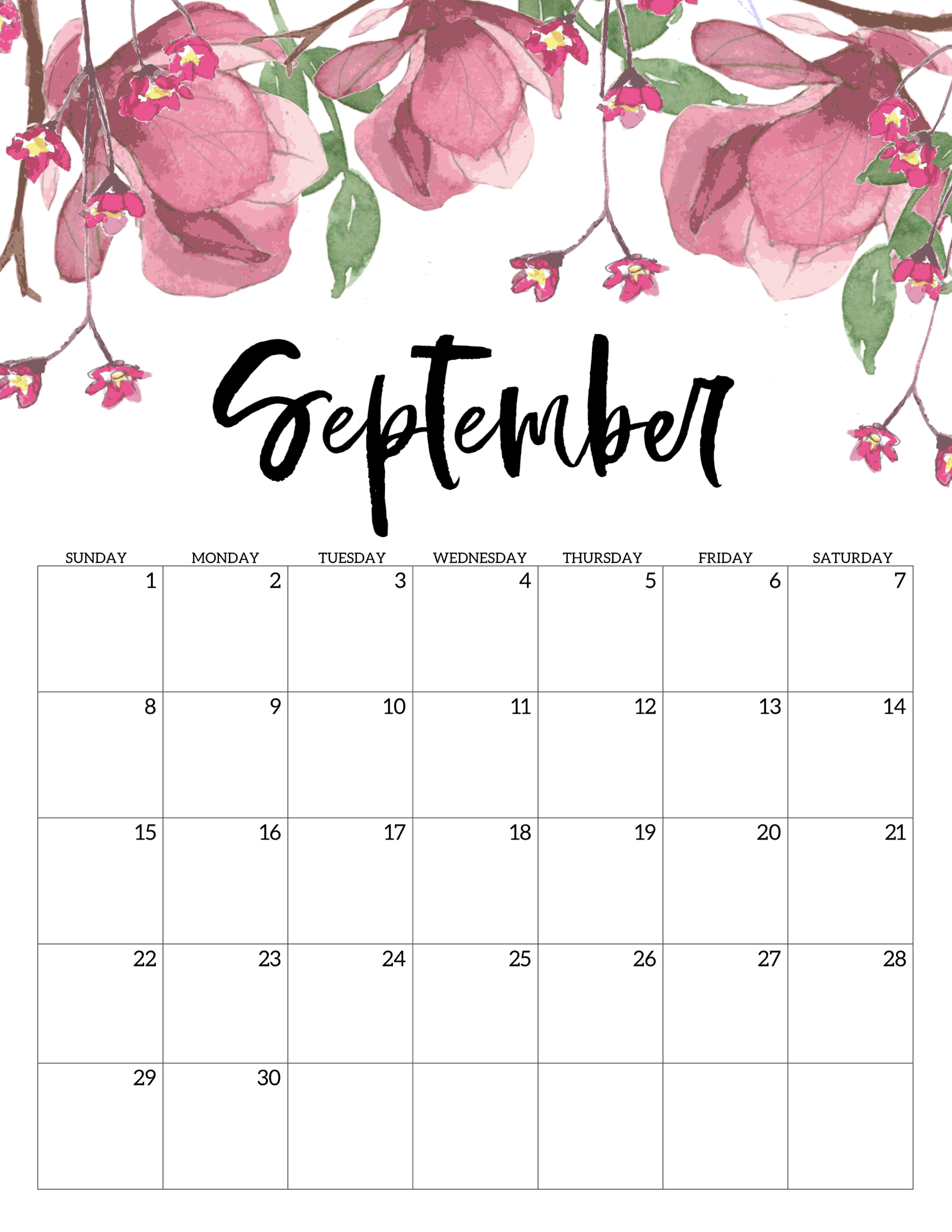 picture regarding Calendar for Printable named Absolutely free Printable Calendar 2019 - Floral - Paper Path Style
