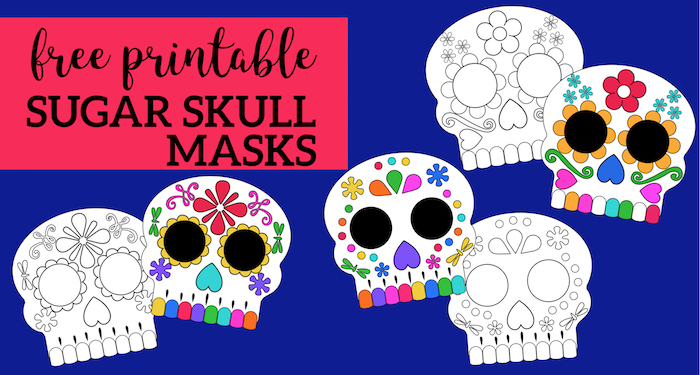 Day of the Dead Masks Sugar Skulls Free Printable - Paper ...