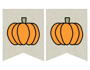 Free Printable Pumpkin Banner Decor. Decorate for Fall, Halloween, and Thanksgiving. DIY pumpkin banner with a burlap rustic farmhouse look. #papertraildesign #pumpkin #pummpkindecor #fall #falldecor #falldecorideas