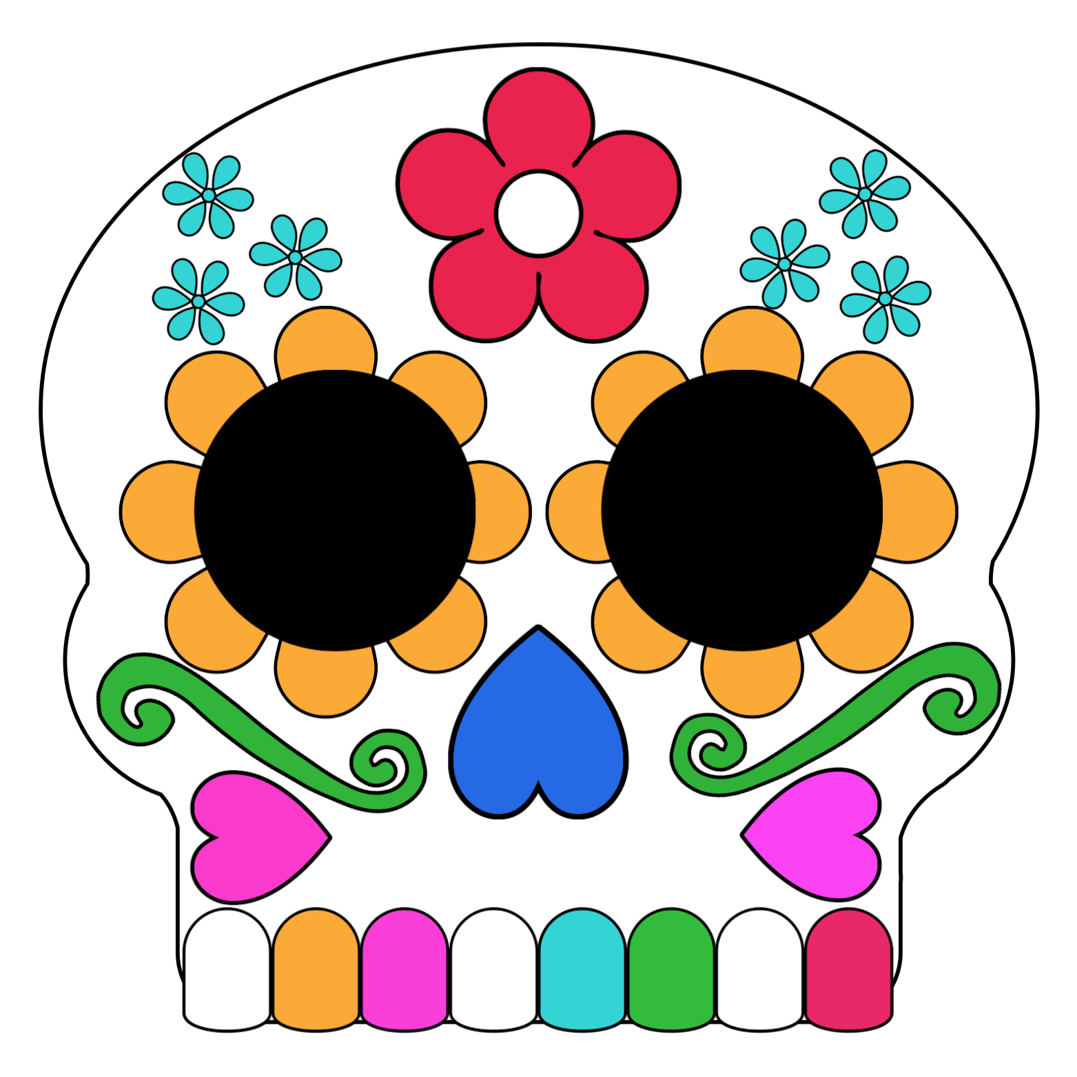 Day of Dead Skull Coloring Page - Get Coloring Pages | 1563x1563