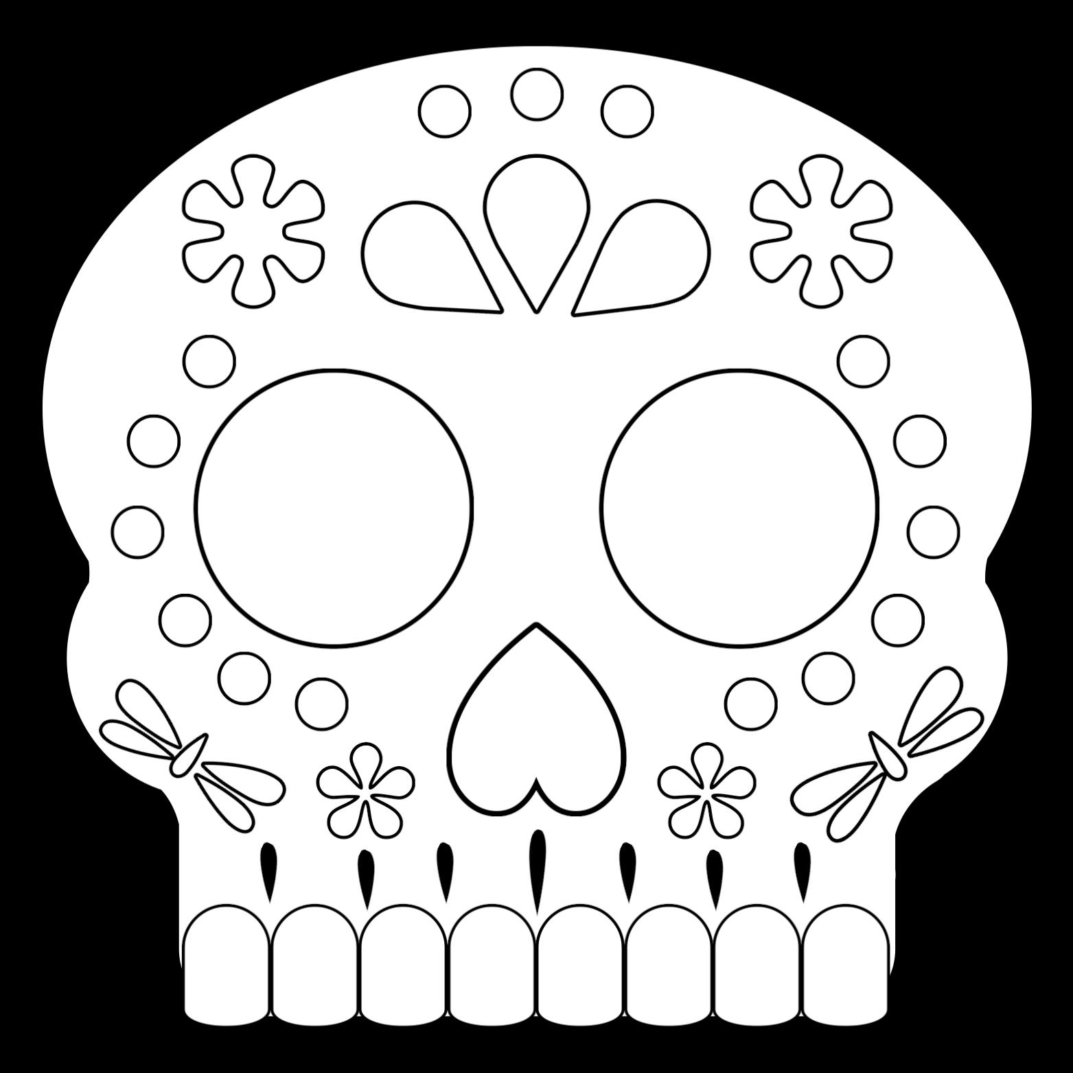 Sugar Skull Mask 3 Coloring Page