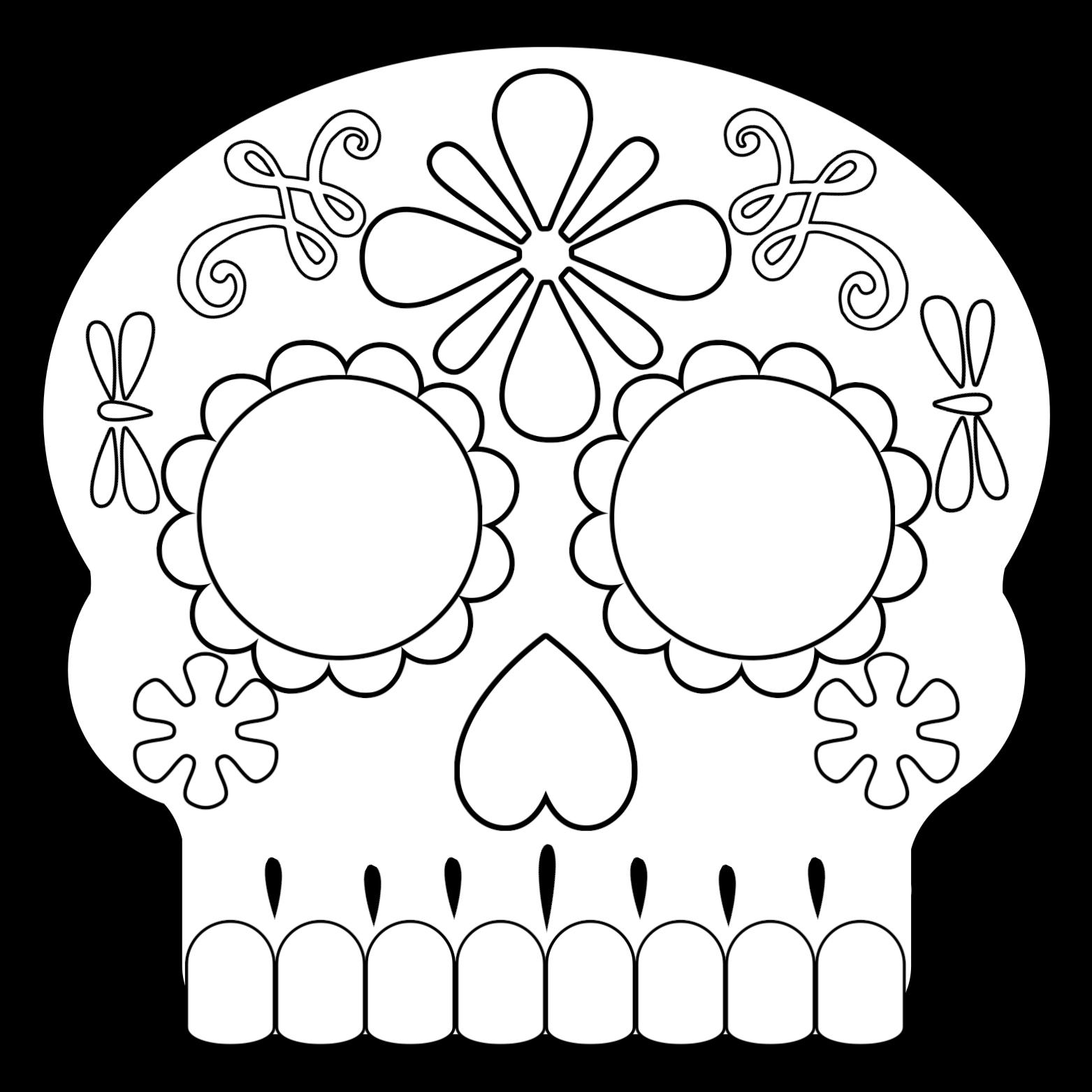 Sugar Skull Mask 2 Coloring Page