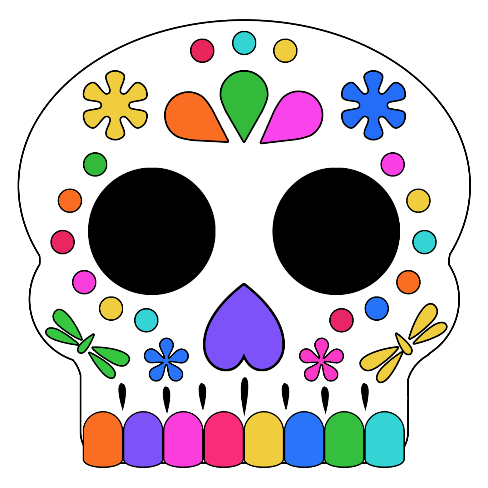 It is an image of Day of the Dead Printable Masks in traditional