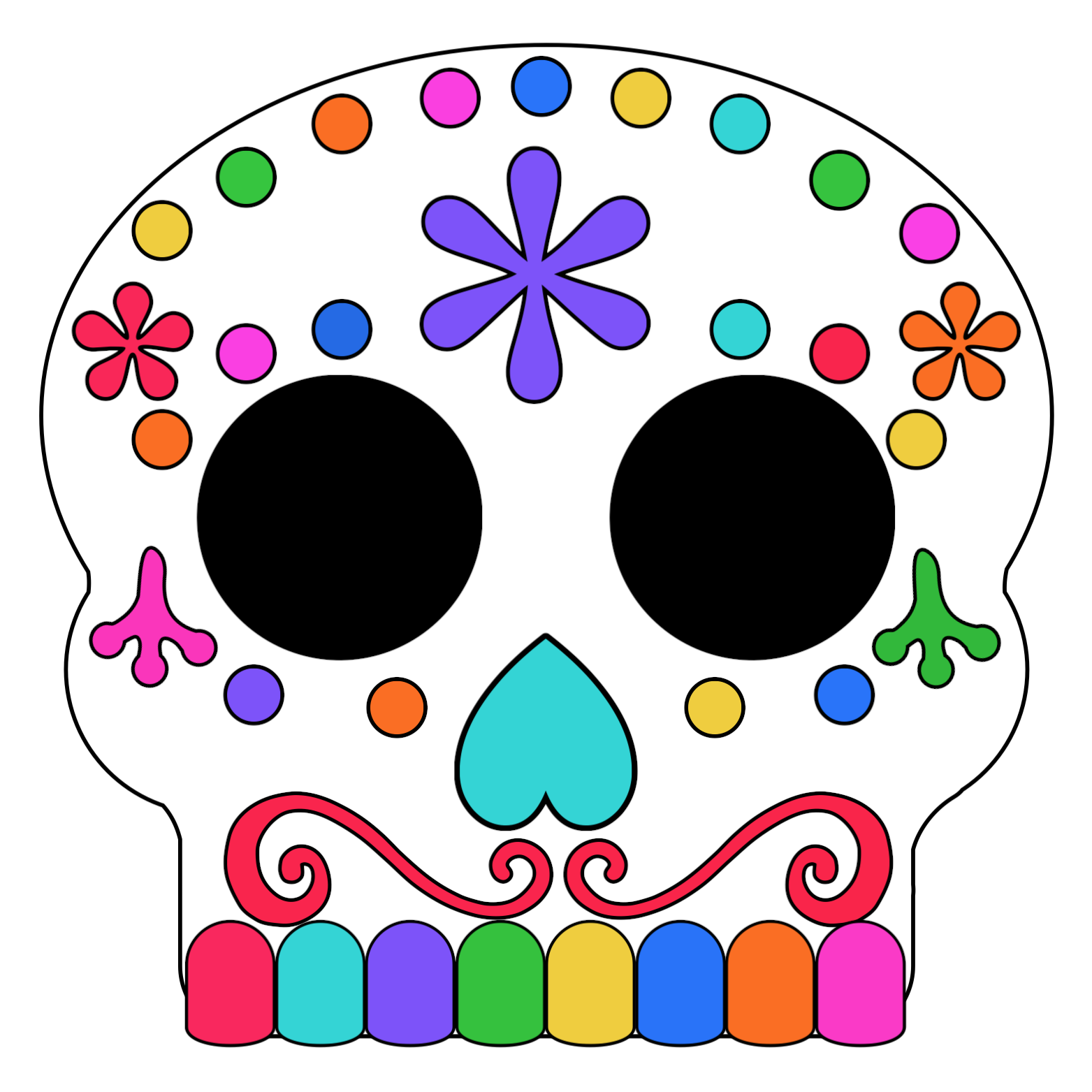 Colored In Day Of The Dead Sugar Skull Masks