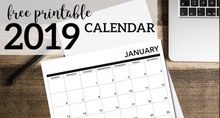 2019 printable calendar free pages