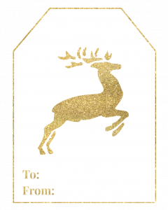 Gold Free Printable Christmas To From Tags. Easy DIY gift tags. Merry Christmas, Happy Holidays, reindeer, Christmas tree. #papertraildesign #christmas #holidays #holidaygifts #wrapping #christmaswrapping