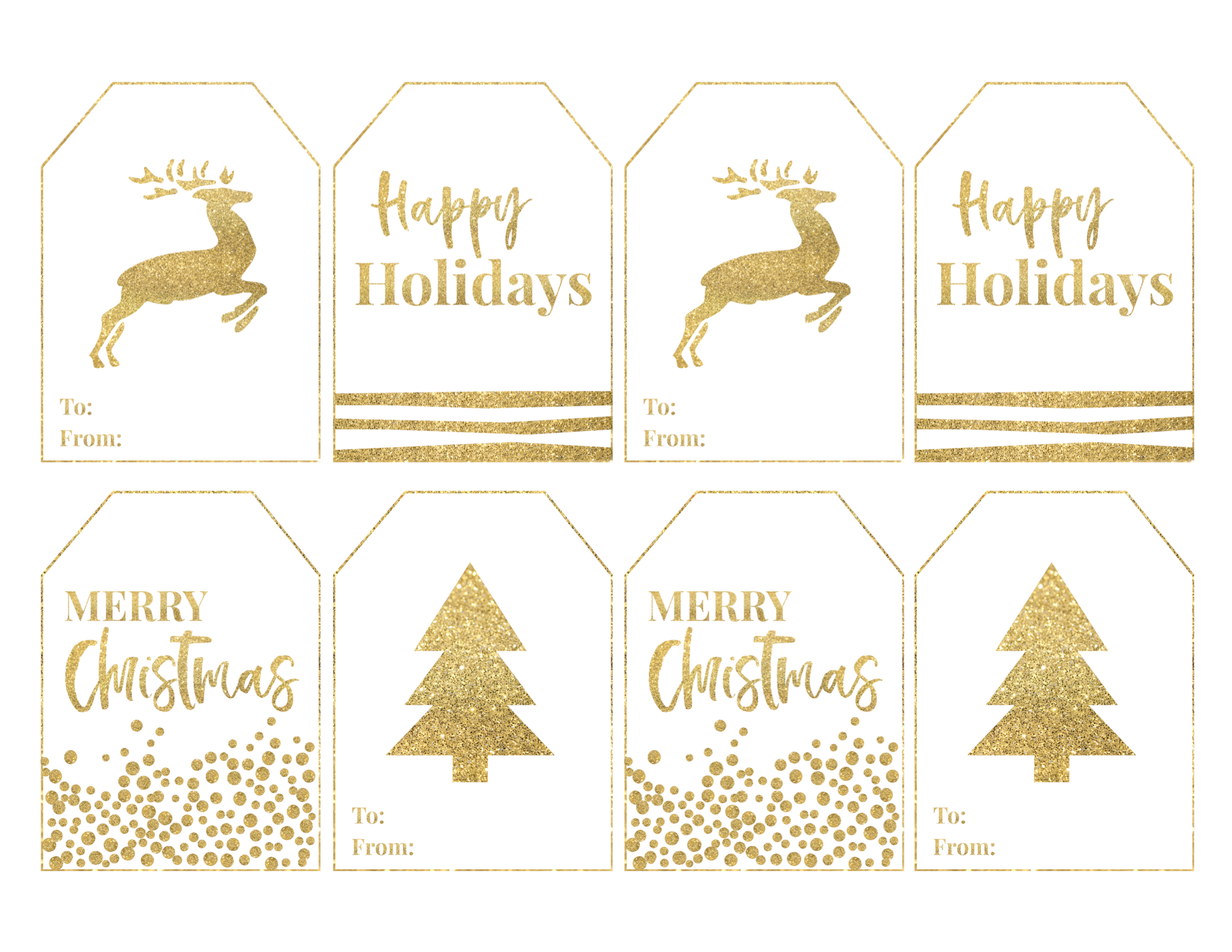 image about Printable Christmas Tag titled Gold Absolutely free Printable Xmas In direction of Towards Tags - Paper Path Style