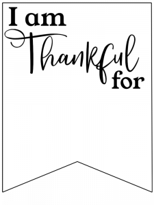 I am Thankful for Printable Banner. Free printable Thanksgiving family activity. I am grateful actvity for church class. Thankful sign. #papertraildesign #thankfulbanner #gratefulbanner #thanksgivingbanner #thanksgivingdecor