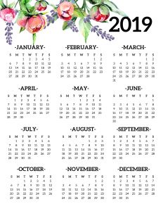Free Printable 2019 Calendar Yearly One Page Floral. 2019 year at a glance calendar poster. Office desk organization and decor. #papertraildesign #organize #office #officeorganization #organizationalprintables #2019printables