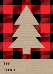 Rustic Plaid Christmas Tags Free Printable. Easy Christmas gift to from card for Christmas wrapping. Buffalo check tree pattern. #papertraildesign #Christmas #giftwrap #Christmasgiftwrap #rusticchristmas