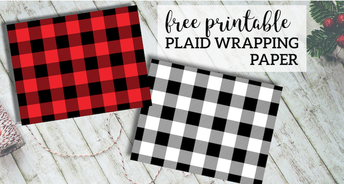 Rustic Buffalo Plaid Wrapping Paper Free Printable. Woodland rustic buffalo check Christmas or birthday wrapping paper. Easy gift wrap. #papertraildesign #plaid #buffaloplaid #buffalowcheck #gift #giftwrap #freeprintable