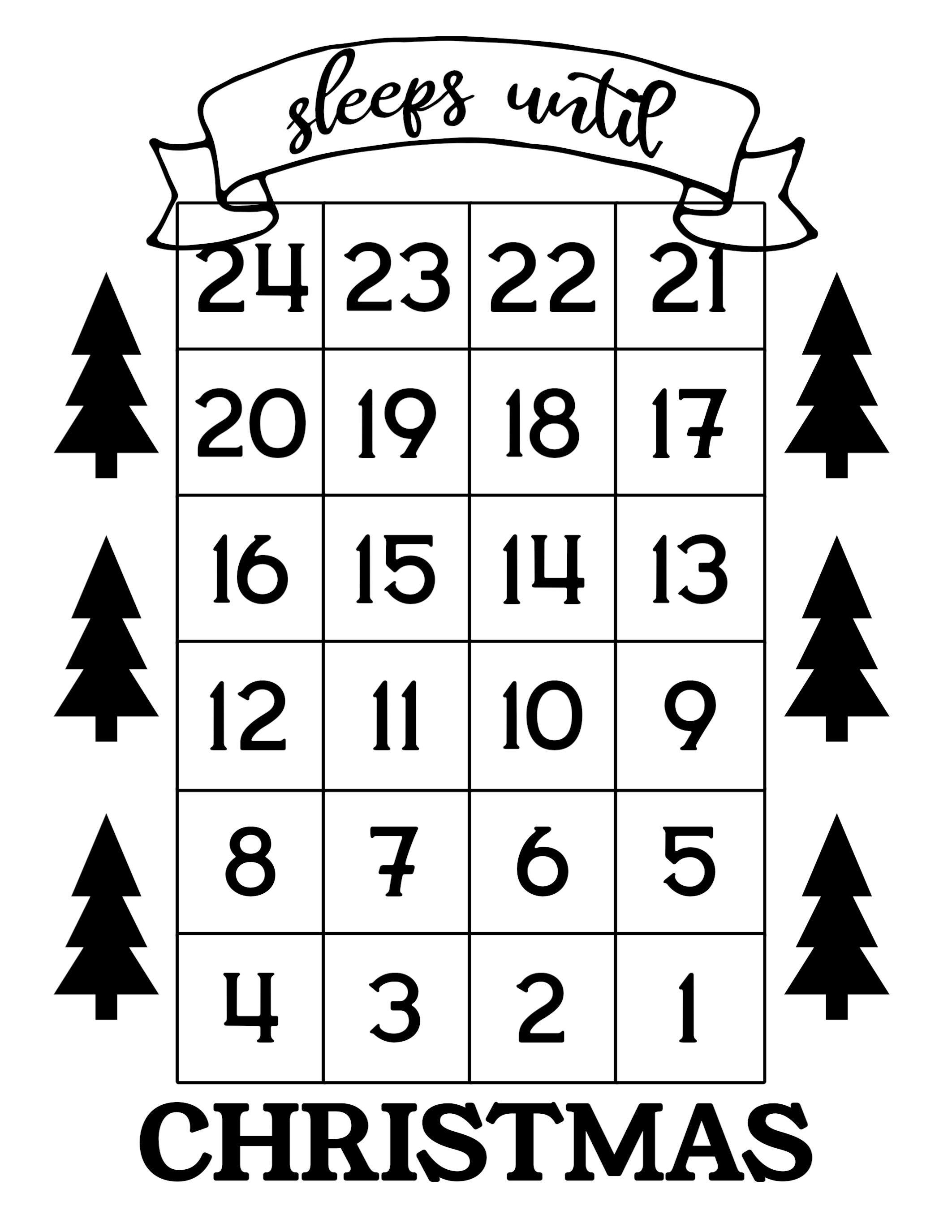 Click the following links to print the how many days until Christmas free printable