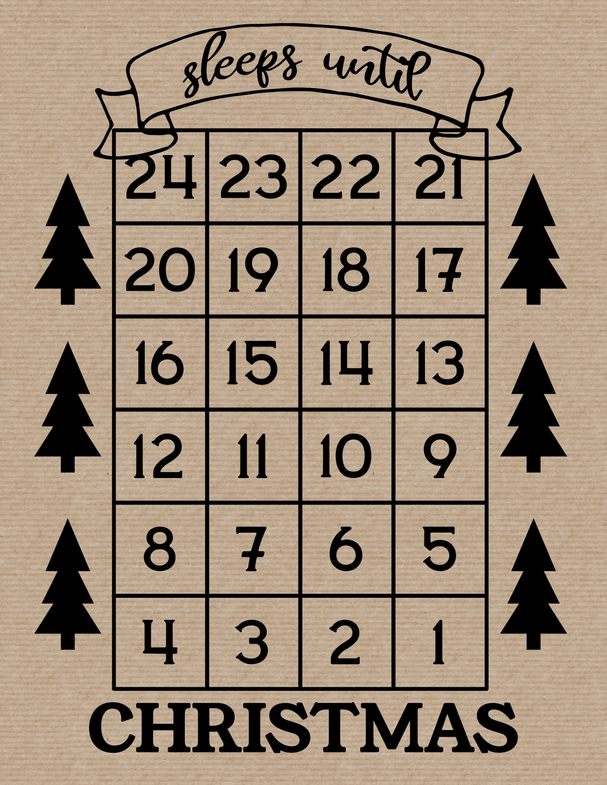 How Many Days Until Christmas Free Printable. Christmas countdown advent calendar sign with trees.