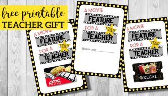 Easy Teacher Gifts Movie Free Printable. End of year or Christmas teacher appreciation gift. Unique, easy and great for male teachers too. #papertraildesign #movie #Teacher #Teachergift #Teacherchristmasgift #Endofyear #teacherappreciation