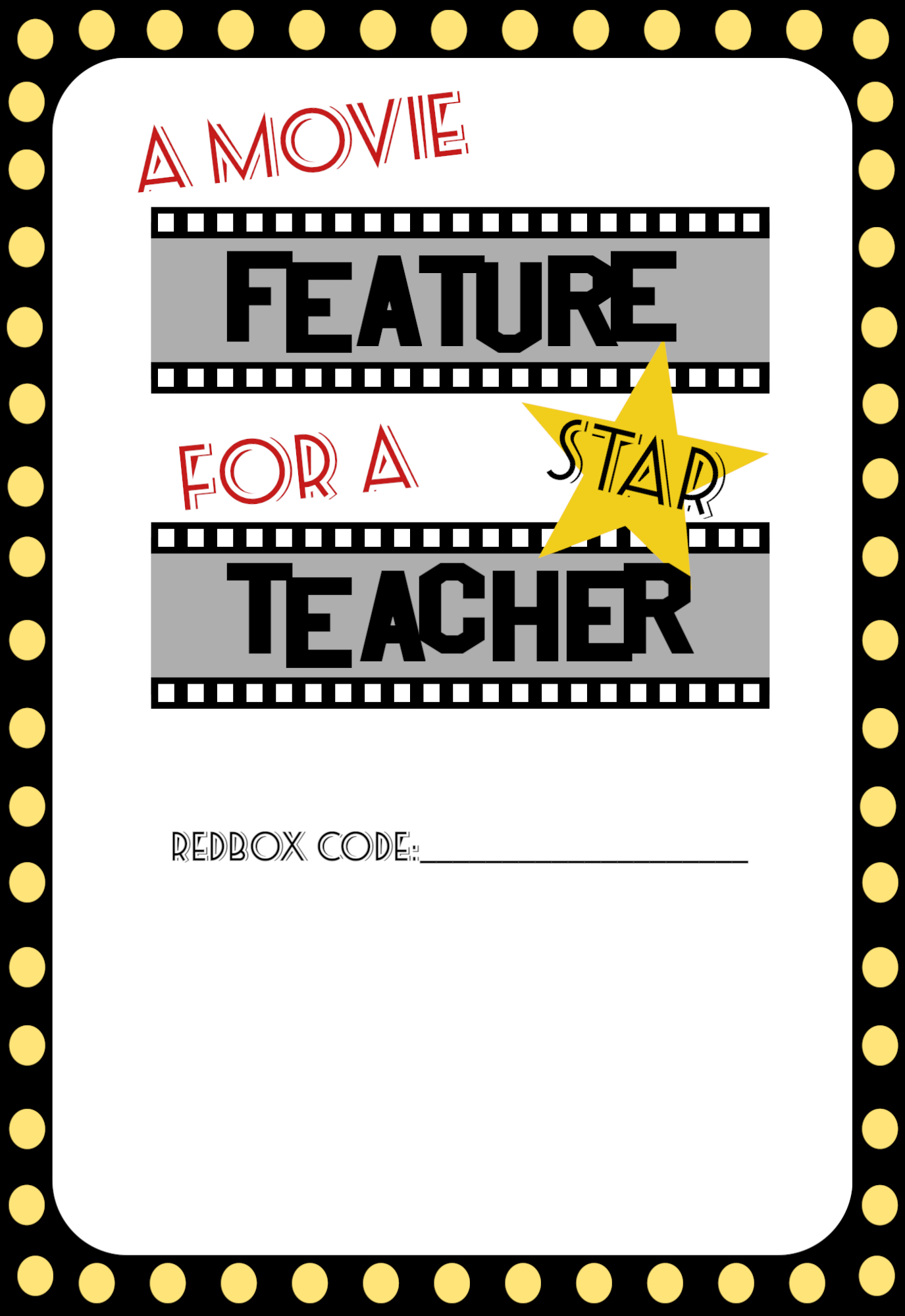 image about Redbox Gift Card Printable called Basic Instructor Presents Video Free of charge Printable - Paper Path Design and style