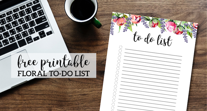 Floral To Do List Printable Template. Cute daily, weekly, or monthly to-do list with flowers for kids, parents, teachers. #papertraildesign #todolist #floral #floralprintables #organization #organizational