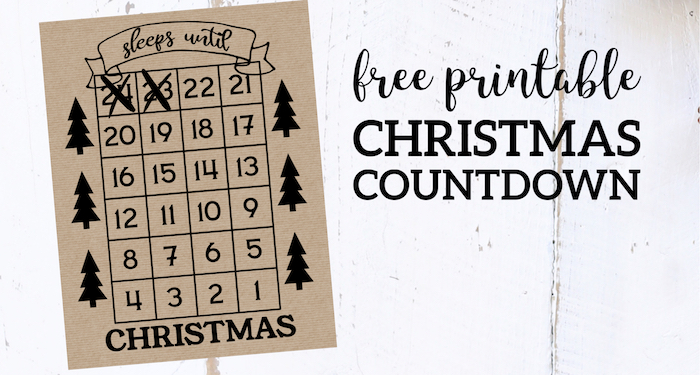 Christmas Countdown Printable 2020 How Many Days Until Christmas Free Printable | Paper Trail Design