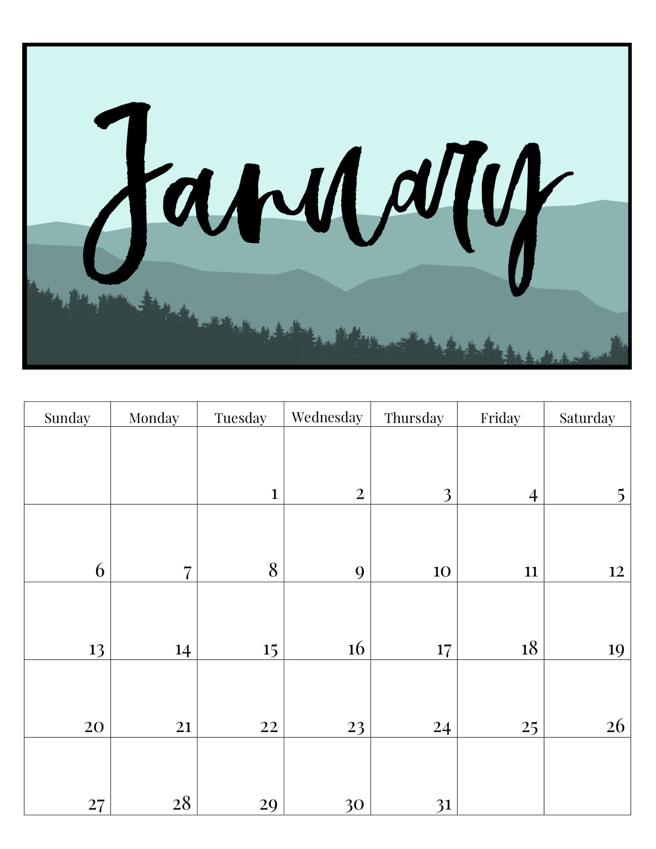 free printable monthly calendar 2019