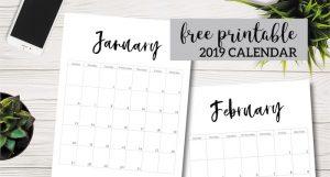 Free Printable 2019 Calendar Template Pages. January, February, March, April, May, June, July, August, September, October, November, December. #papertraildesign #calendar #2019 #2019Calendar #organize #NewYear