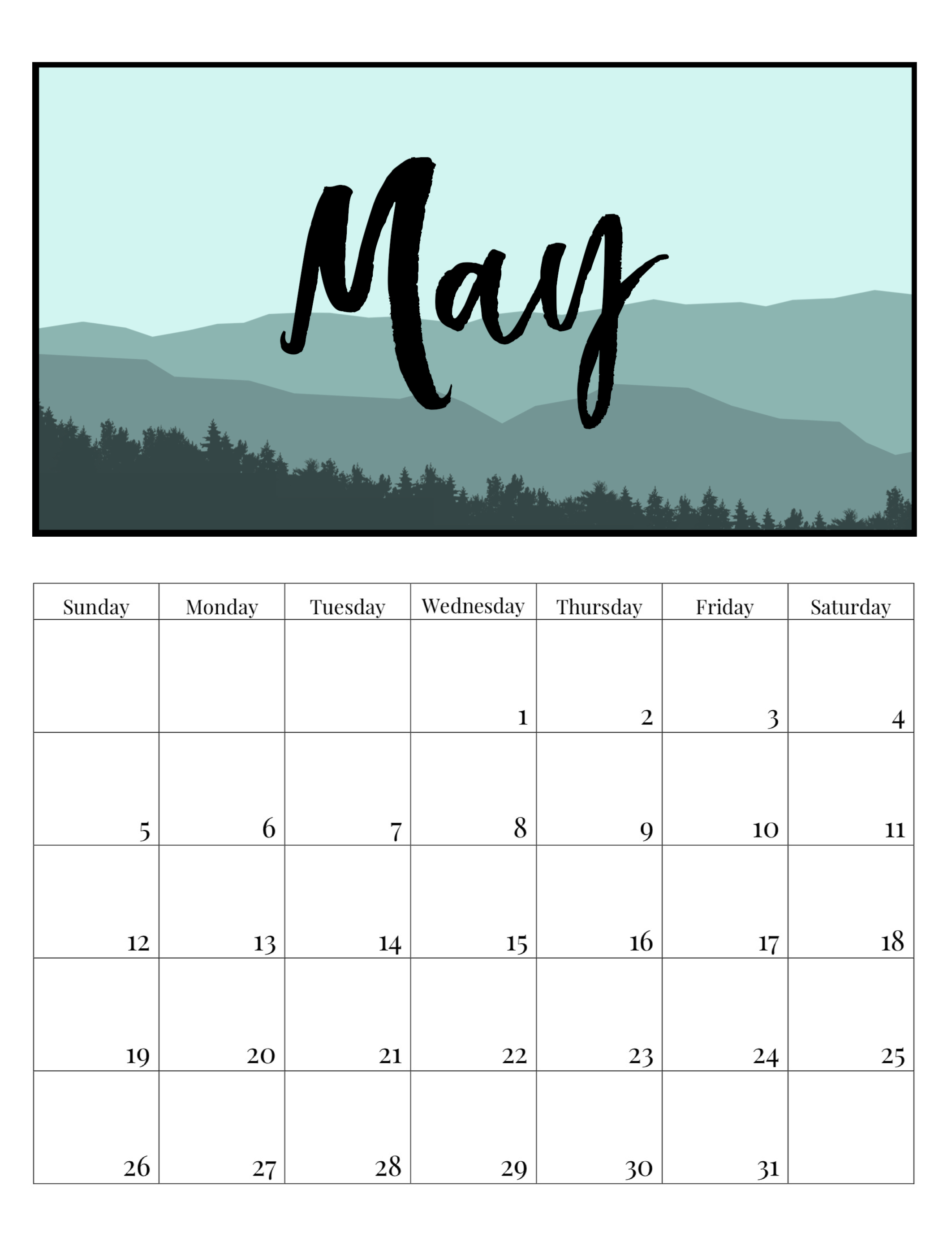 free printable monthly calendar 2019 mountain trees