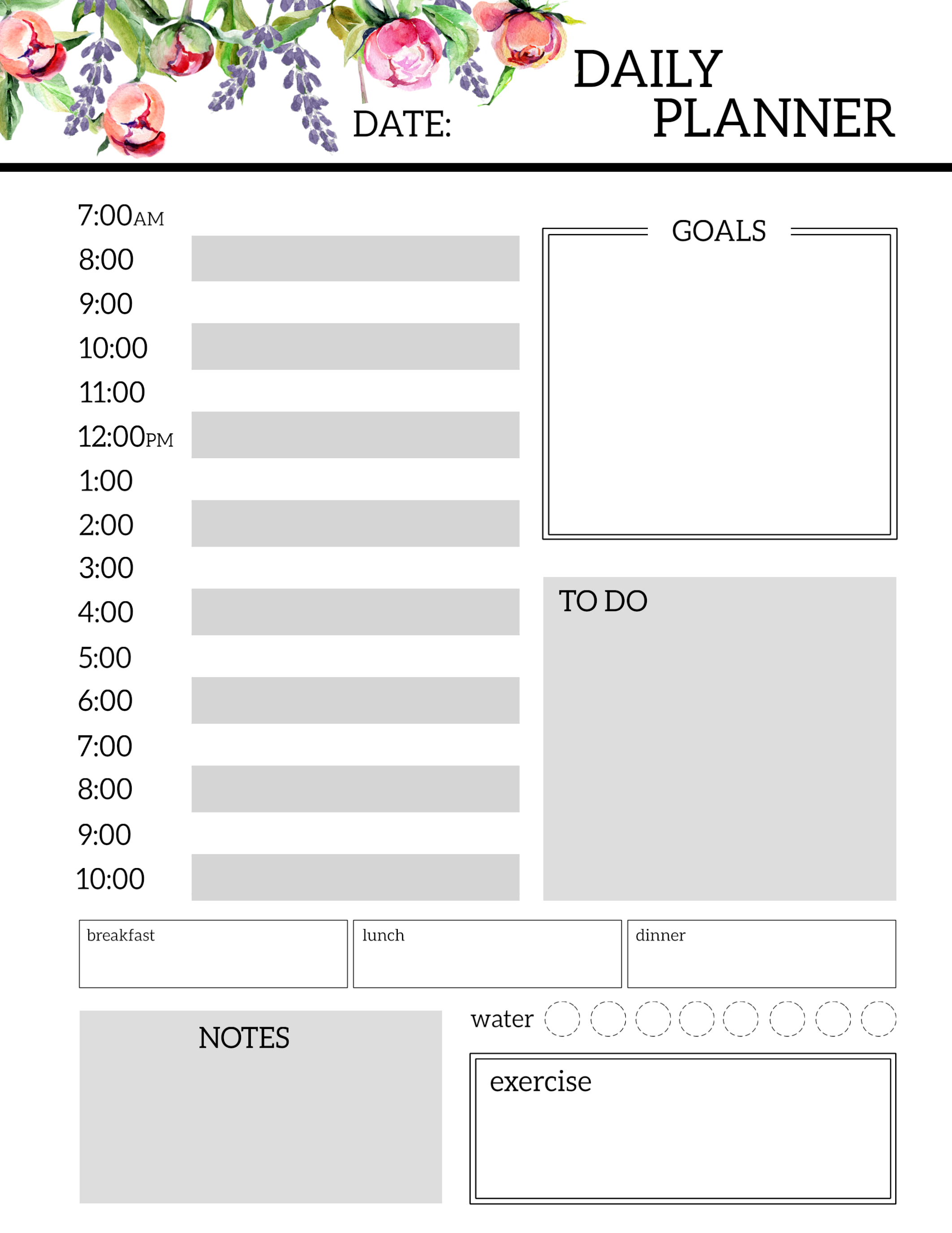 Click The Following Links To Print Fl Free Printable Daily Planner Template Sheets
