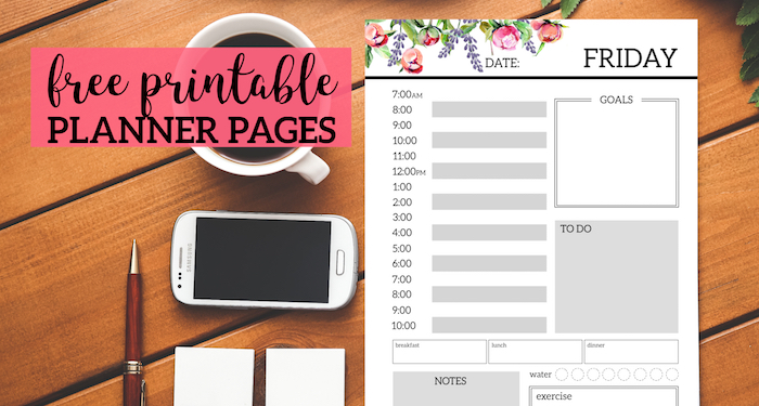 floral free printable daily planner template sheets paper trail design