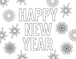 Happy New Year Coloring Pages Free Printable. New Year's coloring pages for kids and adults. Celebrate with New Year coloring sheets. #papertraildesign #Newyears #NewYearCelebration #NewYearParty #kidsnewyear #cheers #2019 #NewYearprintables #NewYearParty #KidFriendlyNewYear