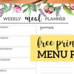 Floral Free Printable Meal Planner Template. DIY Menu planning made easy. Plan and organize daily meals and shopping list. #papertraildesign #menu #menuplan #menuplanning #organization #freeprintable #dinner #familydinner #dinnermenu #organizationprintables