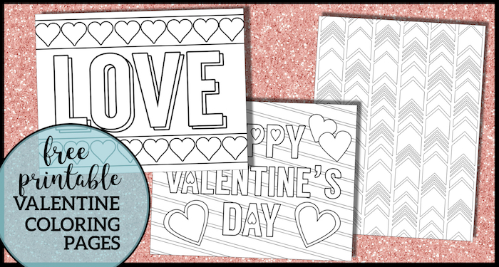 Free Printable Valentine Coloring Pages. Valentine's Day coloring sheets with hearts, arrows, and love for kids or adults. #papertraildesign #valentine #valentinesday #coloringpages #coloringpage #freeprintable #valentinecoloringpage