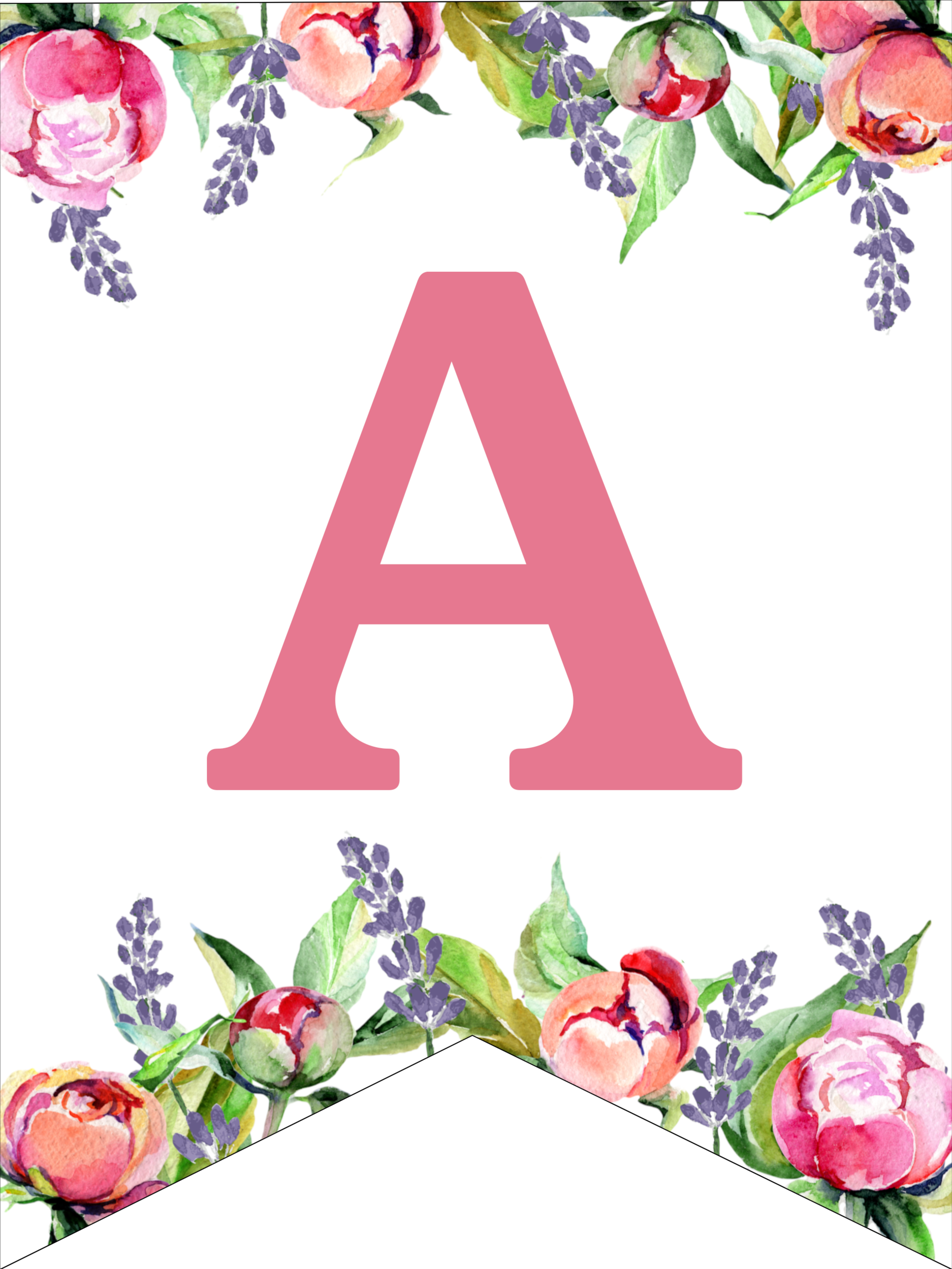 Floral Free Printable Alphabet Letters Banner - Paper ...