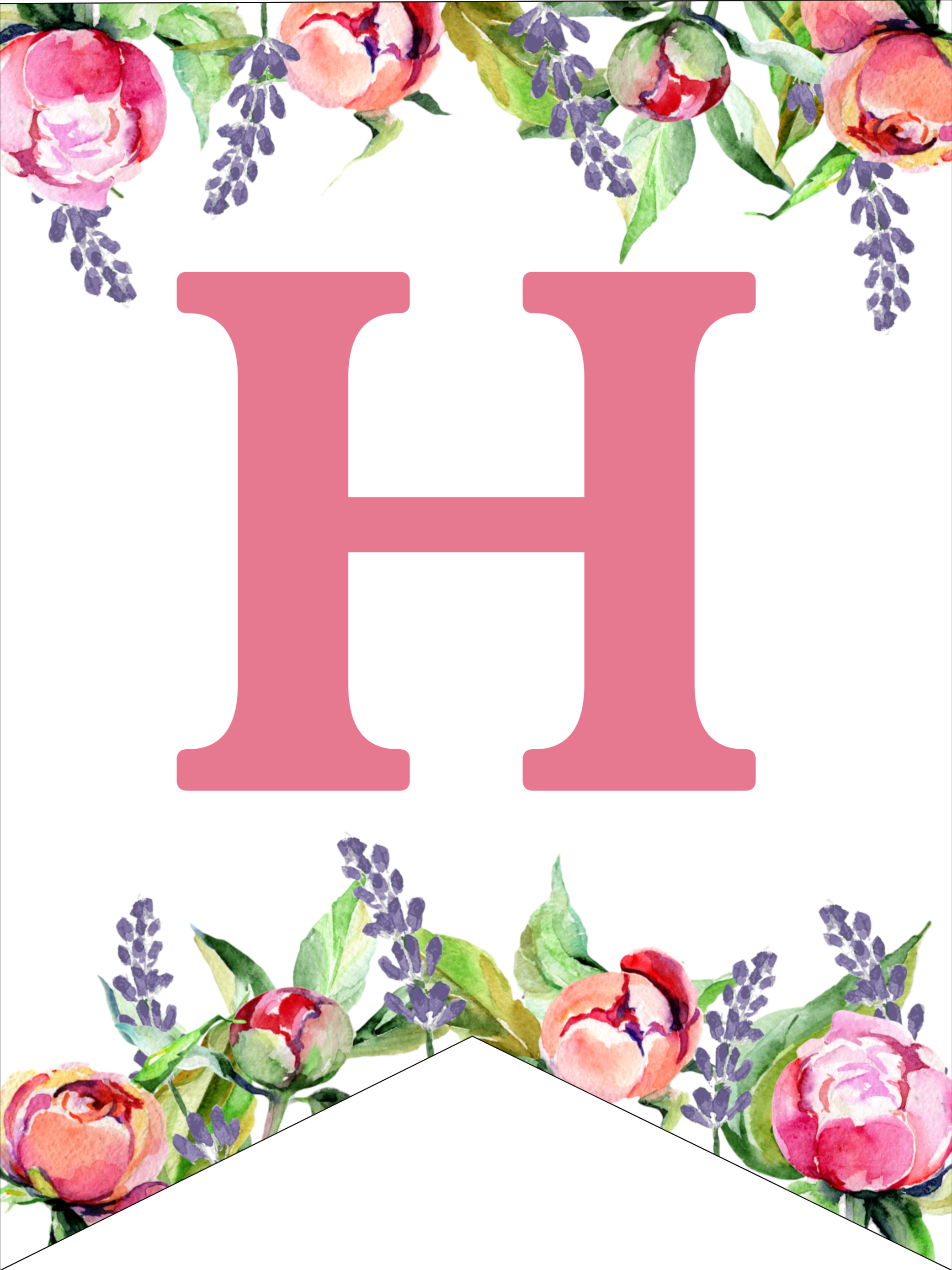graphic relating to Printable Design named Floral Cost-free Printable Alphabet Letters Banner - Paper Path