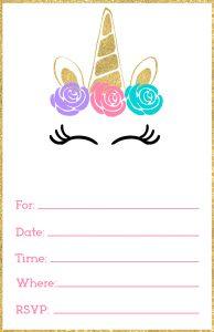 free printable unicorn invitations template paper trail design