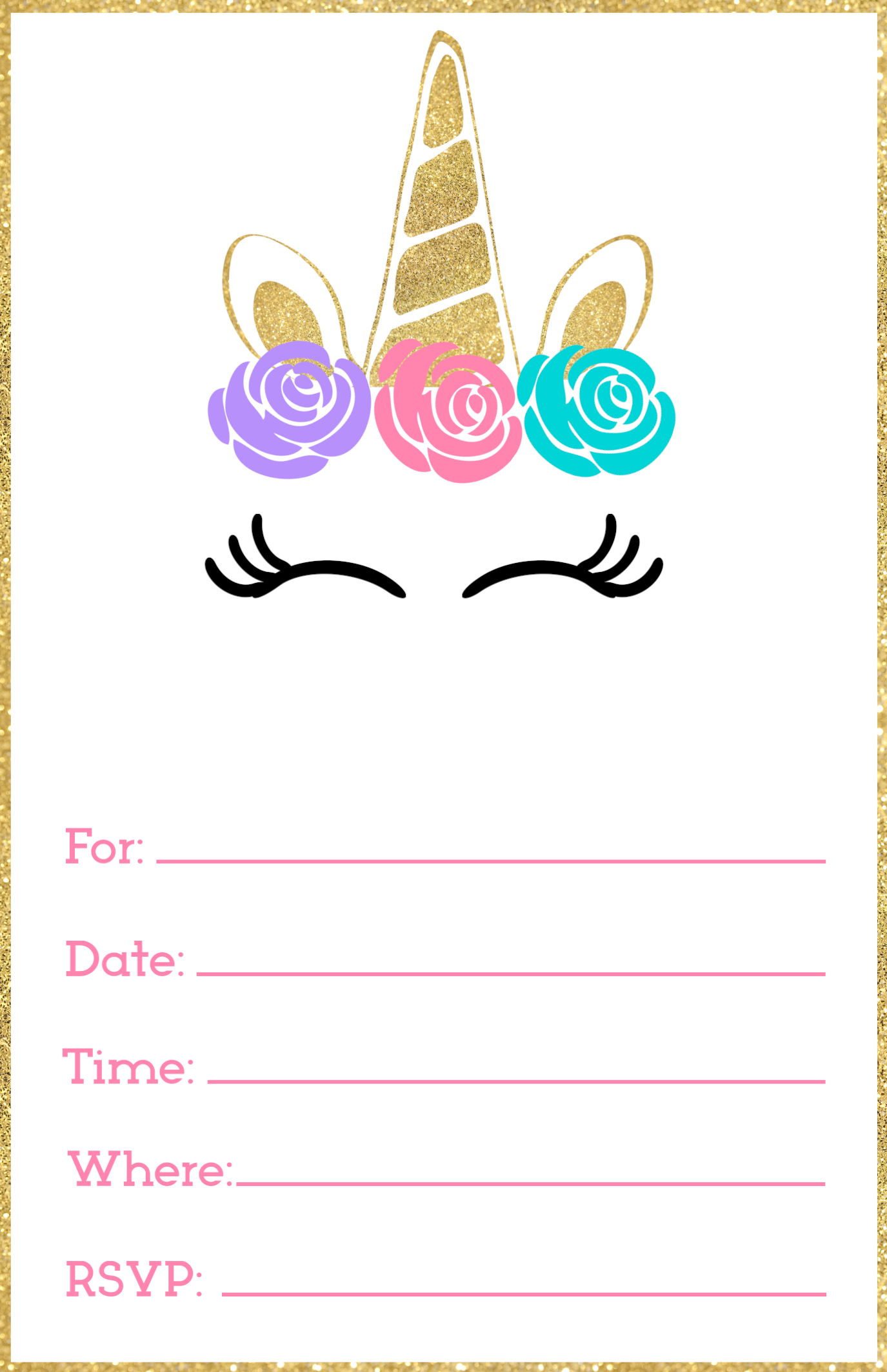 Free Printable Unicorn Invitation Template Fill In