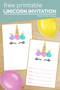 Unicorn Inivitation images for a unicorn party with text overlay- free printable unicorn invitation
