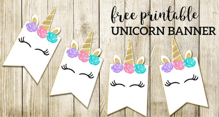 free printable unicorn decorations party banner