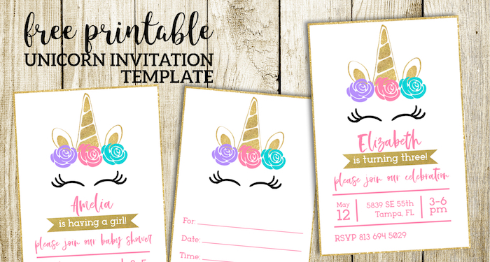 Clever image in free printable unicorn invitations