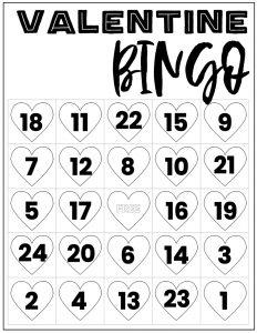 Free Valentine Bingo Printable Cards. Class set of heart bingo cards for a valentine party or activity. Fun valentine game. #papertraildesign #valentine #valentineparty #valentinegame #valentinebingo #valentineactivities #valentineactivity #bingo #heart #heartbingo