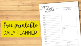 Free Printable Daily Planner Template. Day planner pages to print and use to get organized in your home or office and crush your goals. #papertraildesign #planner #dailyplanner #organization #organize #goals #crushyourgoals #freeprintable #freeprintableplanner