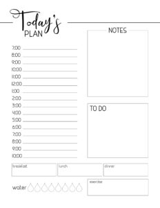 Free Printable Daily Planner Template. Day planner page to print and use. Organiz your home office plan each day through the year. #papertraildesign #office #homeoffice #work #getorganized #plannerpages #plan #planning