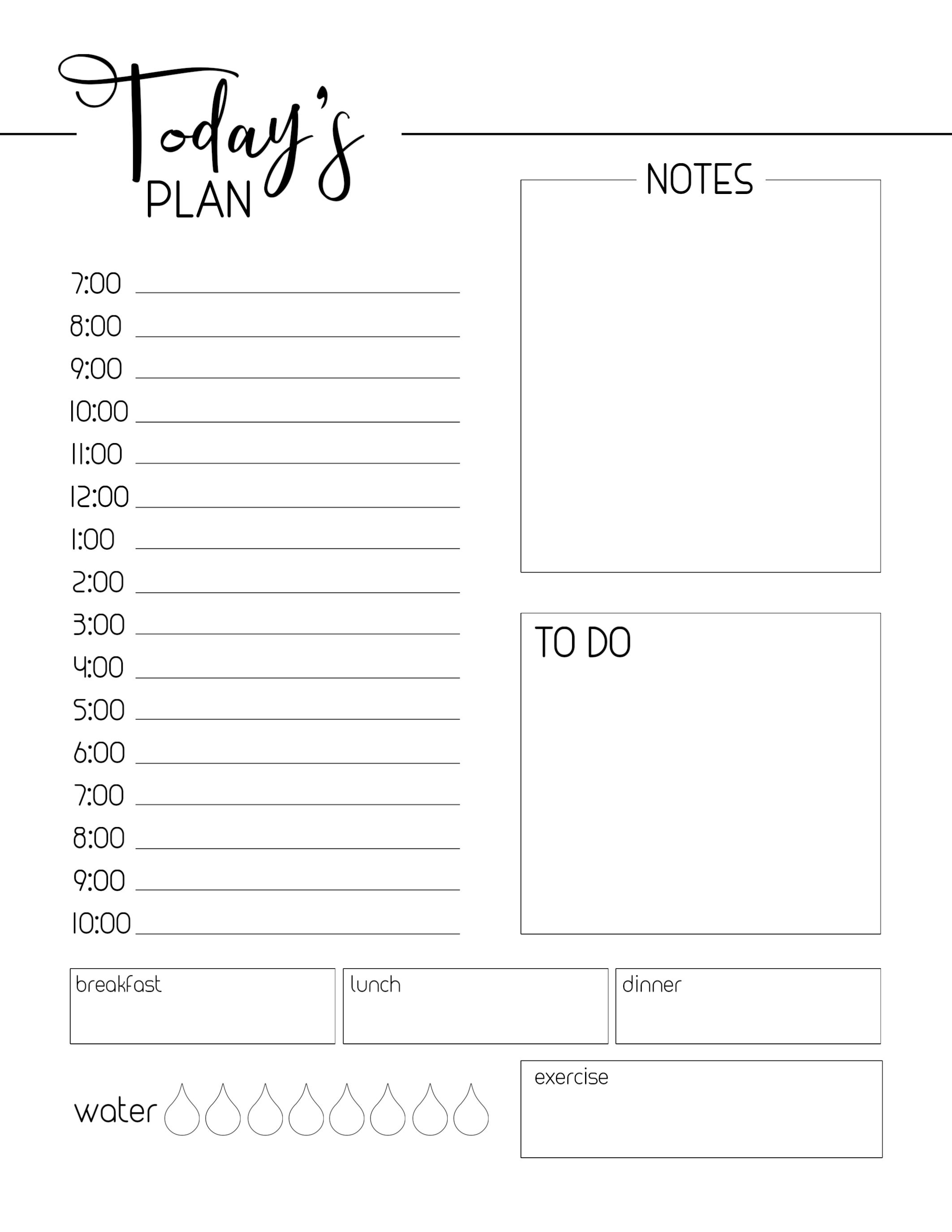 Free Printable Daily Planner Template Paper Trail Design