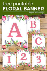 Free printable banner letters with text overlay-free printable floral banner