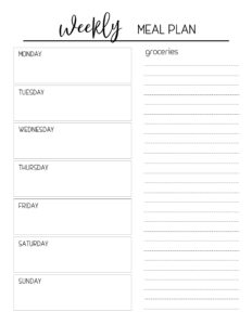 Free Printable Meal Planning Template. Weekly menu planner with grocery list to help you get organized and stay on budget. #papertraildesign #menuplan #menu #menus #menuplanning #menuplanner #menuplanpritnable #organization #homeorganization #timesaver #budget #budgetplanning #budgetplanner