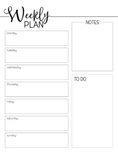 Weekly Planner Template Free Printable. Organize your week with this free printable. Pages for your notebook planner organizer. #papertraildesign #free #freeprintable #goals #crushyourgoals #slayyourgoals #getstuffdone #getshitdone #planning #planyourweek #organizationalprintables