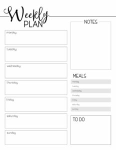 Weekly plan template from monday to saturday with space for notes, meal planning, and to do list.