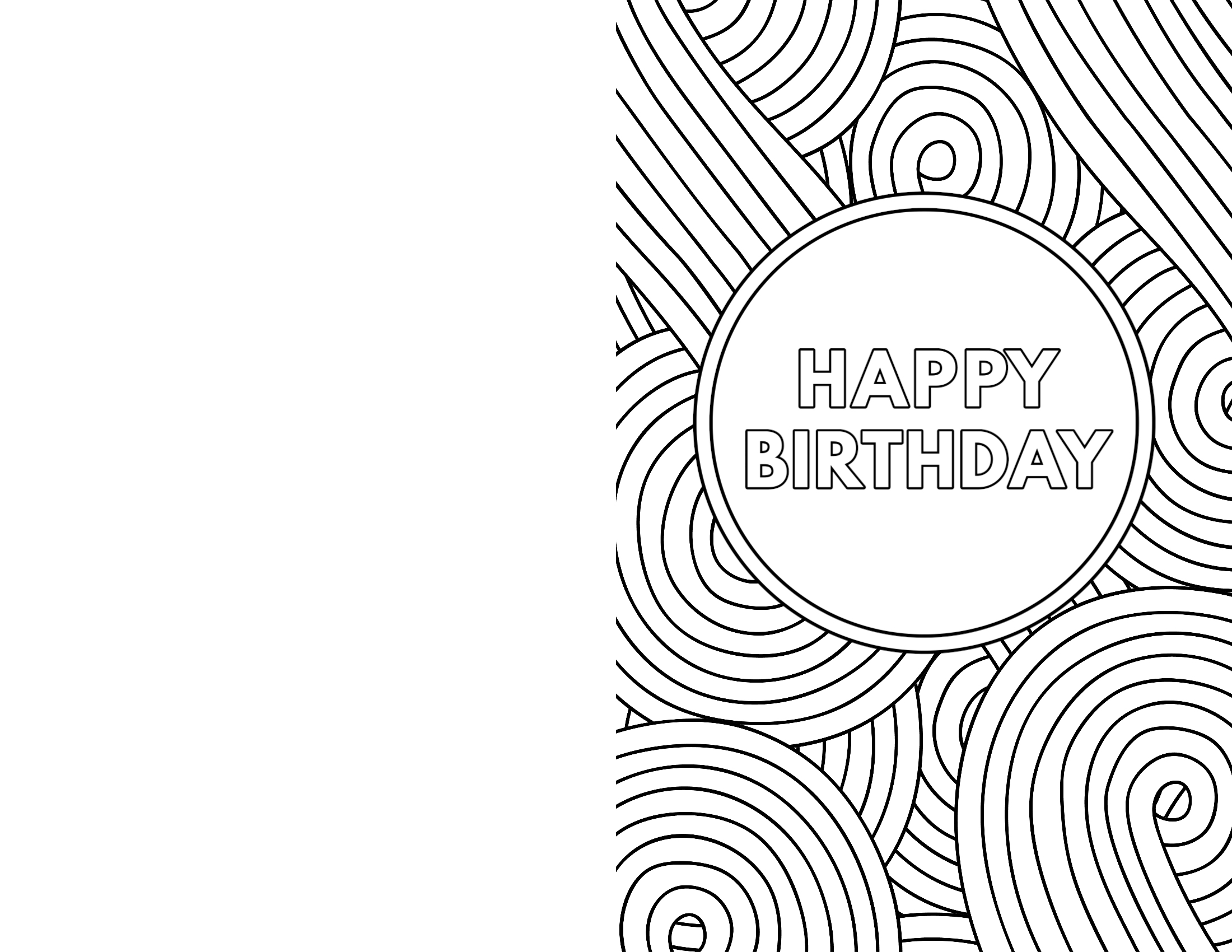 Free Printable Happy Birthday Card Coloring Page Fold In Half