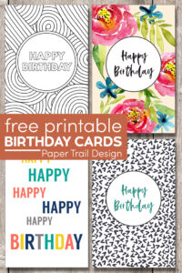 Foldable printable birthday cards for kids or adults with text overlay-free printable birthday cards
