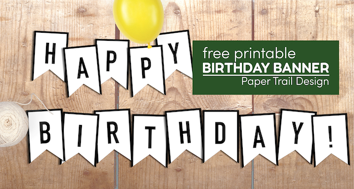Black and white happy birthday banner flags with balloon with text overlay-free printable birthday banner