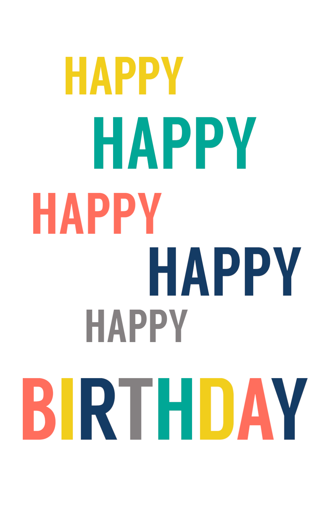 Free Printable Happy Birthday Card Colorful Words