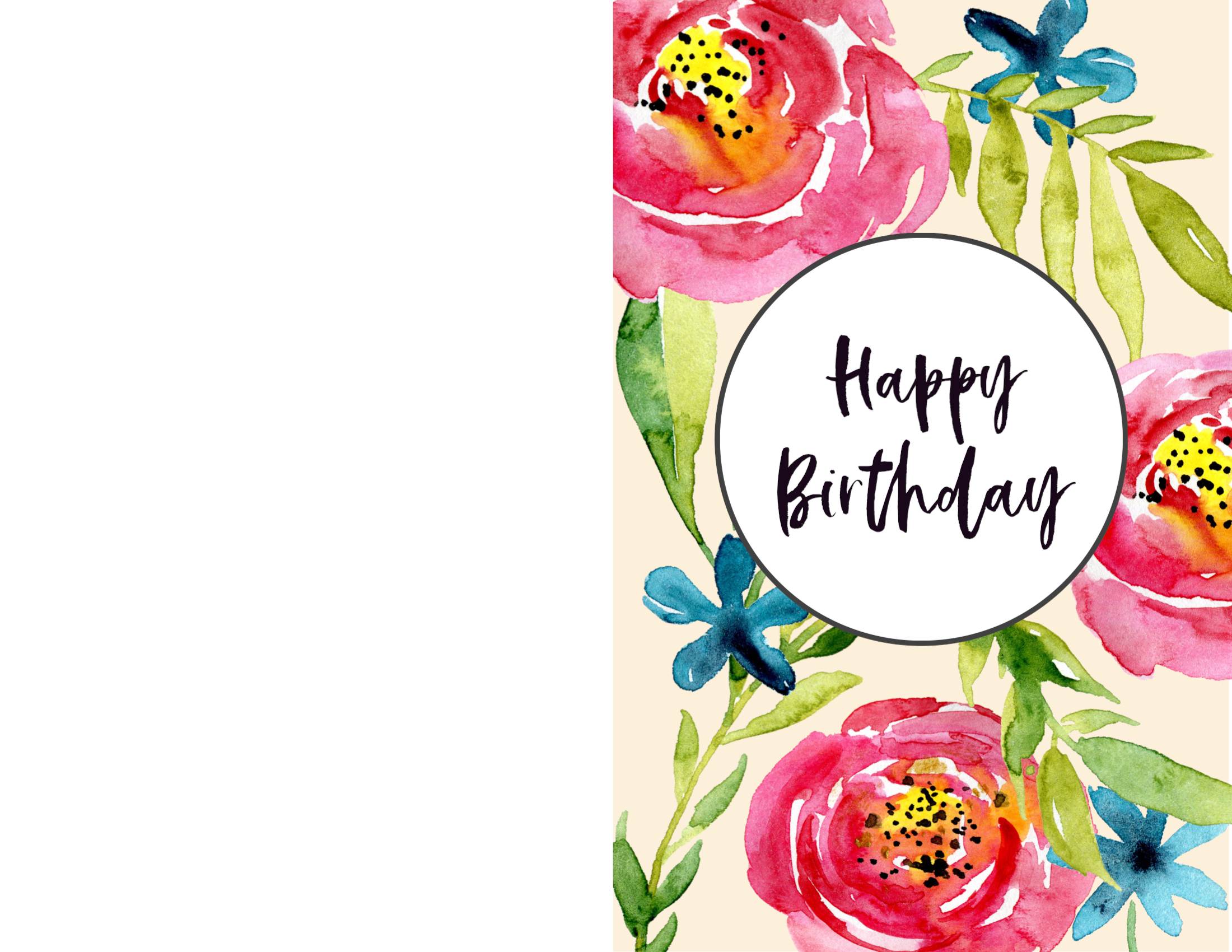 Free Printable Happy Birthday Card Floral Fold In Half